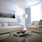 Salon avec fauteil et canapé style scandinave