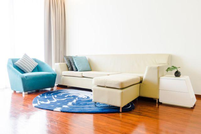Décoration de salon scandinave avec canapé